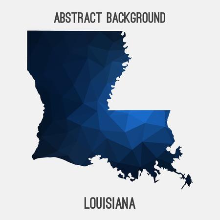 Louisiana map in geometric polygonal, mosaic style.Abstract tessellation, modern design background.
