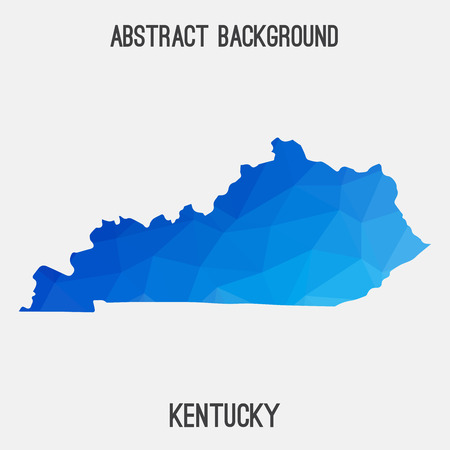 Kentucky map in geometric polygonal, mosaic style.Abstract tessellation, modern design background.