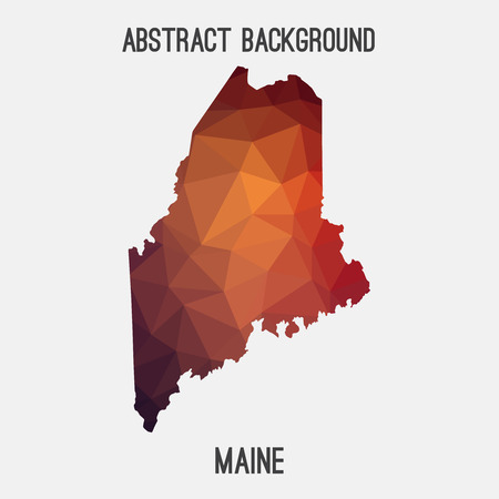 Maine map in geometric polygonal, mosaic style.Abstract tessellation, modern design background.