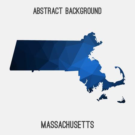 Massachusetts map in geometric polygonal, mosaic style.Abstract tessellation, modern design background.