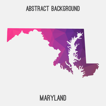 Maryland map in geometric polygonal, mosaic style.Abstract tessellation, modern design background. Illustration