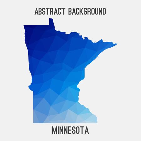 Minnesota map in geometric polygonal, mosaic style.Abstract tessellation, modern design background. Illustration