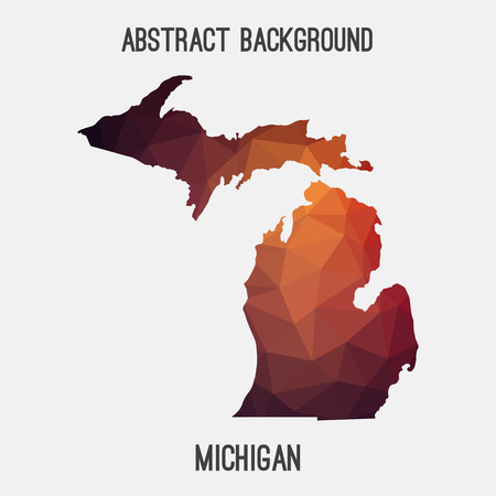Michigan map in geometric polygonal, mosaic style.Abstract tessellation, modern design background.