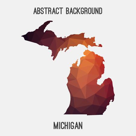 Michigan map in geometric polygonal, mosaic style.Abstract tessellation, modern design background.