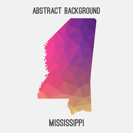 Mississippi map in geometric polygonal, mosaic style.Abstract tessellation, modern design background.