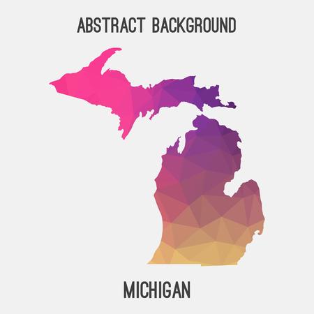 detroit: Michigan map in geometric polygonal, mosaic style.Abstract tessellation, modern design background.