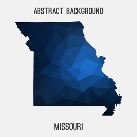 Missouri map in geometric polygonal, mosaic style.Abstract tessellation, modern design background.