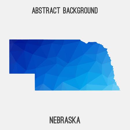 Nebraska map in geometric polygonal, mosaic style.Abstract tessellation, modern design background.