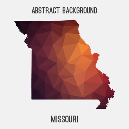 jefferson: Missouri map in geometric polygonal, mosaic style.Abstract tessellation, modern design background.