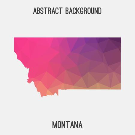Montana map in geometric polygonal, mosaic style.Abstract tessellation, modern design background. Illustration