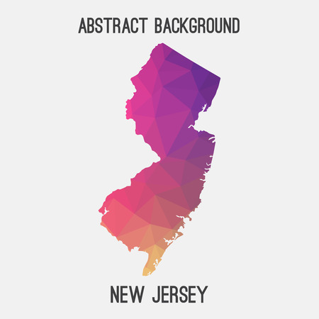 New Jersey map in geometric polygonal, mosaic style.Abstract tessellation, modern design background. Illustration