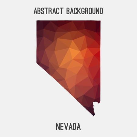 Nevada map in geometric polygonal, mosaic style.Abstract tessellation, modern design background. Illustration