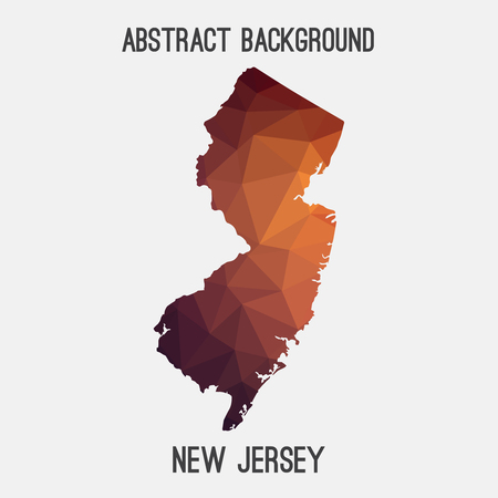 New Jersey map in geometric polygonal, mosaic style.Abstract tessellation, modern design. Illustration