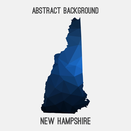 New Hampshire map in geometric polygonal, mosaic style.Abstract tessellation, modern design background. Illustration