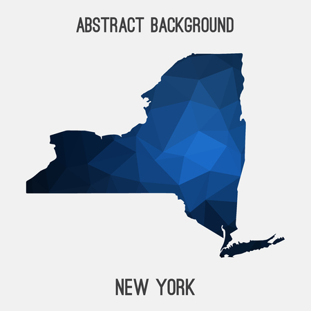 New York map in geometric polygonal, mosaic style.Abstract tessellation, modern design background.