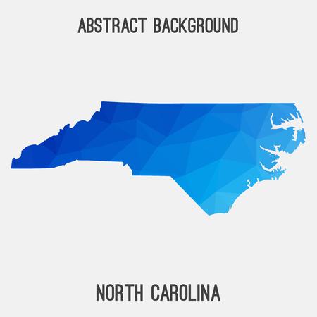 North Carolina map in geometric polygonal, mosaic style.Abstract tessellation, modern design background. Illustration