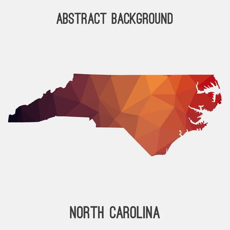 North Carolina map in geometric polygonal, mosaic style.. Illustration