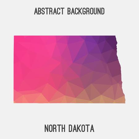North Dakota map in geometric polygonal, mosaic style.Abstract tessellation, modern design background. Illustration