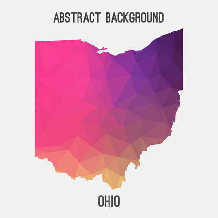 Ohio map in geometric polygonal, mosaic style.Abstract tessellation, modern design background.