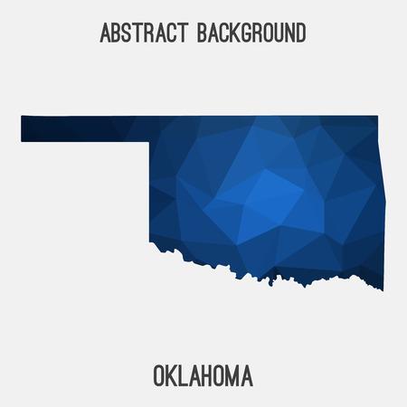 Oklahoma map in geometric polygonal, mosaic style.Abstract tessellation, modern design background. Illustration