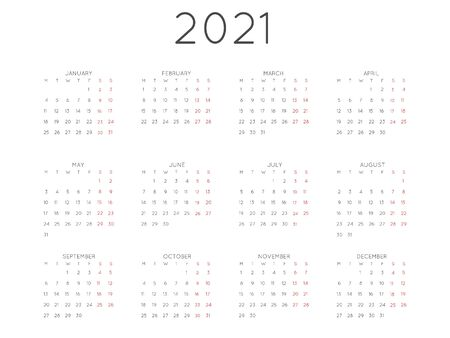 Calendar 2021 year simple style. Week starts from monday
