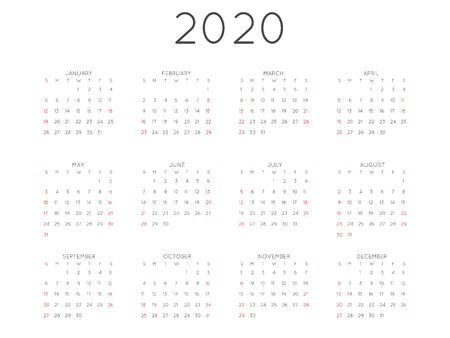 Calendar 2020 year simple style. Week starts from sunday