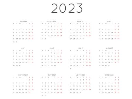 Calendar 2023 year simple style. Week starts from monday Illustration