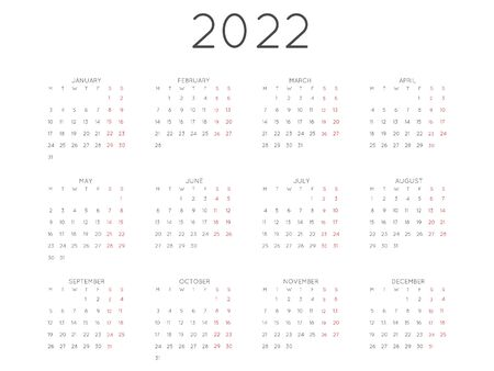 Calendar 2022 year simple style. Week starts from monday