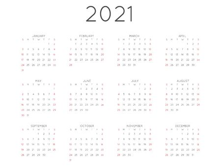 Calendar 2021 year simple style. Week starts from sunday