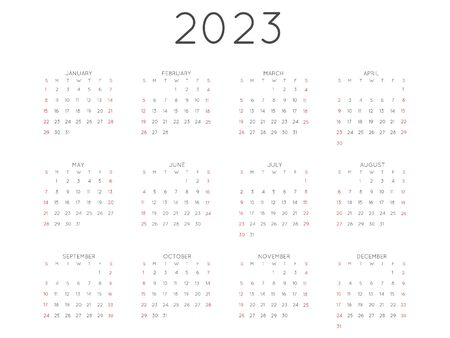 Calendar 2023 year simple style. Week starts from sunday