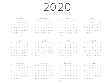 Calendar 2020 year simple style. Week starts from monday