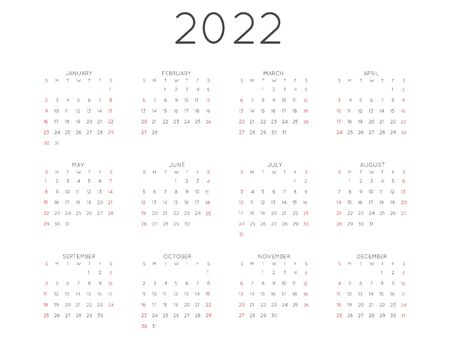 Calendar 2022 year simple style. Week starts from sunday