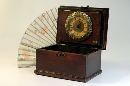Japanese fan and box with clocks