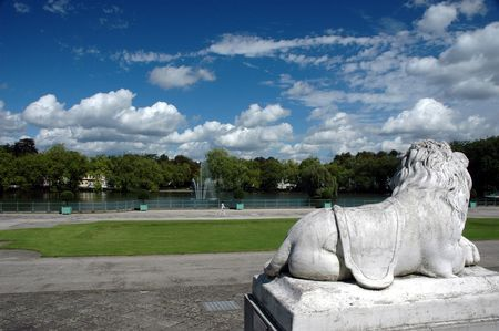 Statue of lion in the park off Benrath, Germany