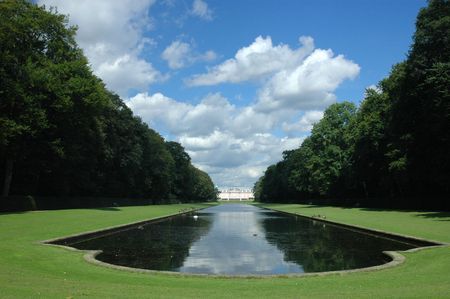 View to the Benrath park, Dusseldorf, Germany Stock Photo