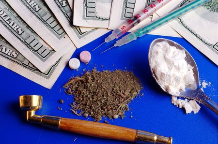 Drugs and money on the table