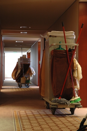 Cleaning cart in the hall of a hotel Stock Photo