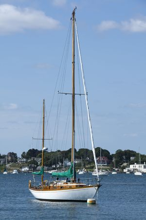 係留ニュー イングランド港の帆船 写真素材