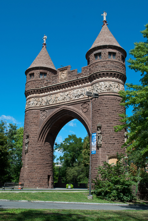 West side view of The Soldiers and Sailors Memorial Arch is a notable memorial to the American Civil War located in Hartford, Connecticut. It was the first permanent triumphal arch in America, and honors the 4,000 Hartford citizens who served in the war,