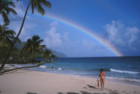 virgin girl: Caribbean Beach Girl Rainbow in background