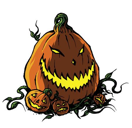Scary Halloween Jack-o-Lantern Pumpkin in b&w line drawing illustration Stock Illustration - 105299507