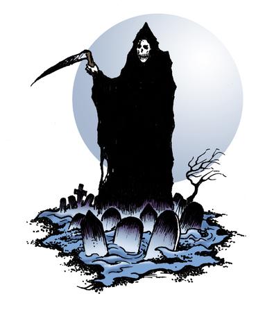 Grim Reaper of Death in Halloween Graveyard with scythe