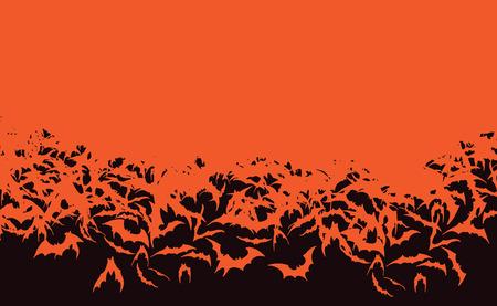 Background of Halloween Bat Horde Flying Orange Bats