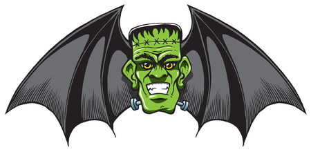 Frankenstein Bat with wings as a isloated halloween cartoon Stock Photo - 108110753