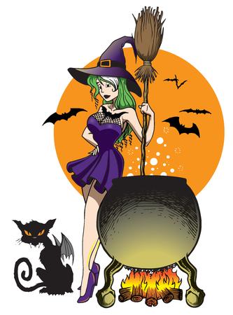 Witch next to cauldron with crazy cat halloween Stock Photo