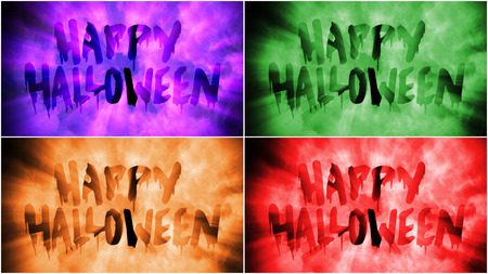 Four versions of Text only of words Happy Halloween Stock Photo
