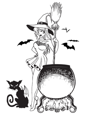 Witch next to cauldron with crazy cat halloween in line art