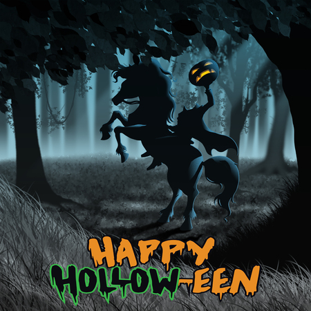 Halloween Headless Horseman with pumpkin in moody forest in Sleepy Hollow New york