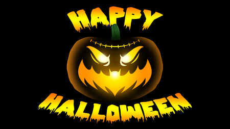 Glowing Halloween Jack-o-lantern with Bat Mouth with Halloween Greeting