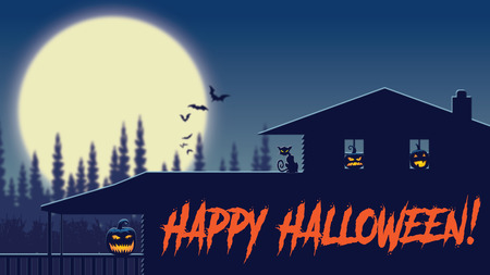 A view of a halloween farmhouse on moonlit night with jack-o-lanterns in the windows Stock Photo